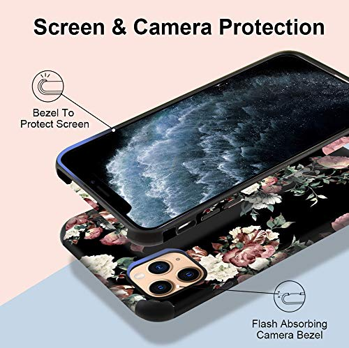 CUSTYPE Case for iPhone 11 Pro Max Case, iPhone 11 Pro Max Case Floral Rose Flower Design Girls Women Leather Bumper Soft Flexible TPU Shockproof Protective Cover for iPhone 11 Pro Max 6.5''