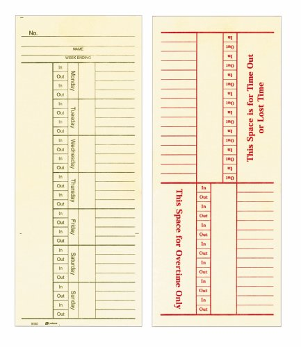 Time Cards Overtime Weekly - Adams Time Cards, Weekly, 2-Sided, Overtime Format, 3-3/8
