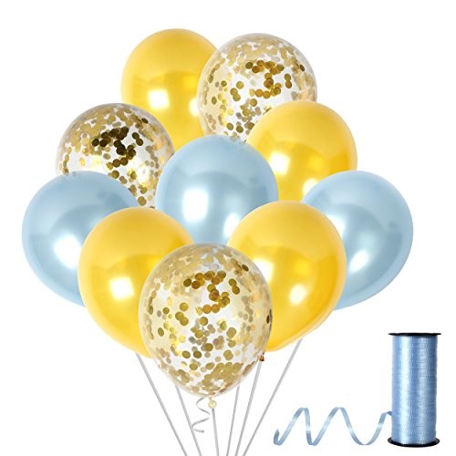 Light Blue and Gold Confetti Balloons Decorations for Gender Reveal Baby Shower Birthday Wedding Sweet 16 Festival Party ()
