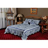 Tache Home Fashion DXJ106784-Kforwardslashck Paisley Bell Garden Bedspread Quilt Set, King/California King, Blue/White/Floral