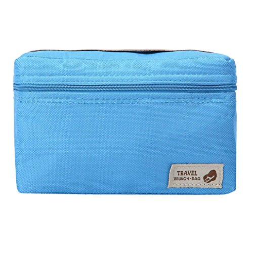 Yeefant 1 Pcs Unisex Outdoor Portable Insulated Thermal Cooler Bento Lunch Box Picnic Storage Bag,0.56 x 0.39 x 0.36 Ft,Blue