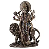 Top Collection Durga Female Hindu Statue with Lion- Divine Mother of The Universe Goddess Sculpture in Premium Cold Cast Bronze- 11-Inch Collectible East Asian New Age Figurine