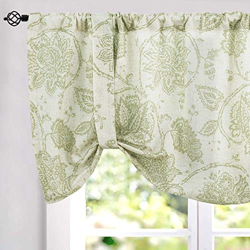 Floral Printed Tie Up Valances for Kitchen Windows Vintage Jacobean Floral Printed Linen Look Tie-up Valance Curtains Rod Pocket Adjustable Tie Up Shades for Windows (1 Panel, Sage, 18-Inch)