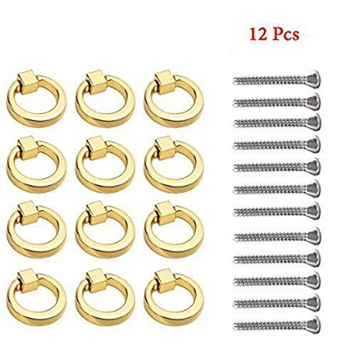 Zinc Ring Pull - 12 Pcs Modern Simplicity Ring Handle Zinc Alloy Single Hole Drawers Handle Jewelry Box Knobs Dressing Table Handle (Gold)
