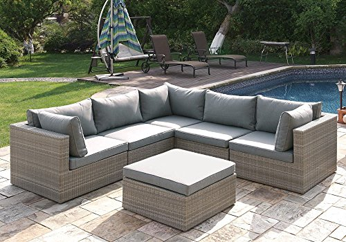 6 pcs Outdoor Patio Pool L-Shaped Sectional Sofa Set Ottoman Tan Rattan Wicker price
