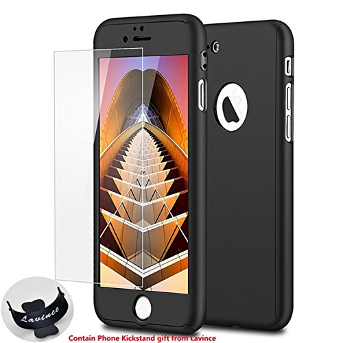 iPhone 7 Case,Lavince Full Body Protection Hard Slim Premium Cover[Dual Layer][Slim Fit] with Tempered Glass Screen Protector for iPhone 7 4.7inch(Black) (Pure Phone Black Mobile Luxury)