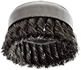 Weiler Wire Cup Brush, Threaded Hole, Steel, Partial Twist Knotted, Single Row, 4'' Diameter, 0.023'' Wire Diameter, 5/8''-11 Arbor, 1-1/4'' Bristle Length, 9000 rpm (Pack of 1)