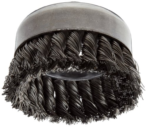 "Weiler Wire Cup Brush, Threaded Hole, Steel, Partial Twist Knotted, Single Row, 4"" Diameter, 0.023"" Wire Diameter, 5/8""-11 Arbor, 1-1/4"" Bristle Length, 9000 rpm (Pack of 1)"
