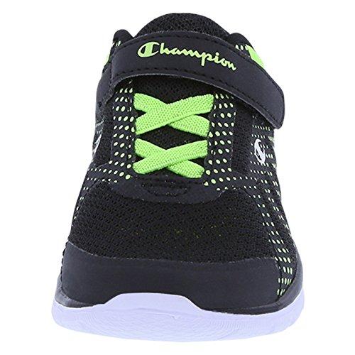 Champion Boy del gusto ligero Runner negro, verde limón (Black Lime Dots)