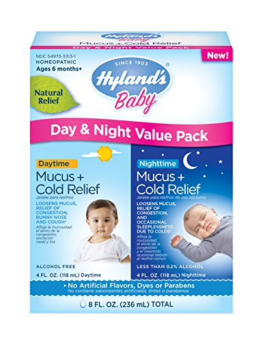 Baby Cold Medicine, Infant Cold and Cough Medicine, Decongestant, Hyland's Baby Mucus and Cold Relief, Day & Night Value Pack, 8 Fluid Ounce (Packaging May Vary)