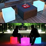 Mr.Go 16-inch 40cm Rechageable LED Light Cube Stool Waterproof with Remote Control Magic RGB Color Changing Side Table Home Bedroom Patio Pool Party Mood Lamp Night Light Romatic Decorative Lighting