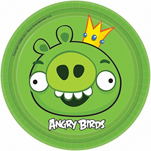 Angry Birds dessert plates, King Pig, 7 inch round, package of 8 paper plates. -