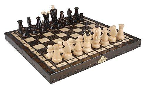 Estilo–Juego de ajedrez rey con madera tallada de madera, 11x 11in