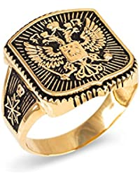 10k Yellow Gold Russian Imperial Crest Mens Orthodox Cross Ring