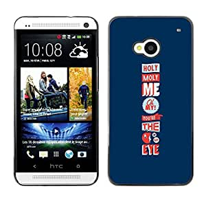 Shell-Star Arte & diseño plástico duro Fundas Cover Cubre Hard Case Cover para HTC One M7 ( Holy Moly Love Funny Apple Eye Blue )