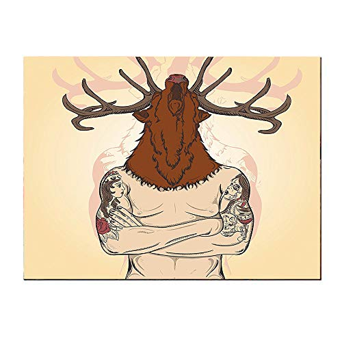SATVSHOP Wall Art painting-24Lx24W-Hipster Man with Tattoos Wearing a eindeer Animal Mask Facel s Graphic Brown Cream.Self-Adhesive backplane/Detachable Modern Decorative.]()