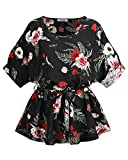 KILIG Women's Summer Tops Round Neck Self Tie Short Sleeve Casual Floral Blouse Tops