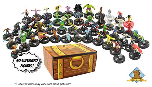 60 Random Miniature Figure Assortment! Great Variety of Random Superhero Mini Figures! Includes Golden Groundhog Treasure Chest Storage Box!