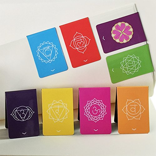 "Chakra Magnetic Bookmarks with Get to The Point Pointers (New & Improved) Beautiful Mandalas Colorful & Info on Both Sides of Holder 1.1""x1.6"" Folded (Set of 8)"