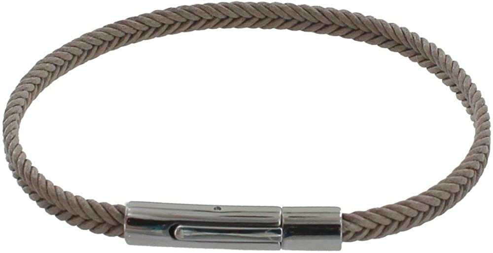 Les Poulettes Bijoux Bracelet Homme Tresse en Coton Taupe