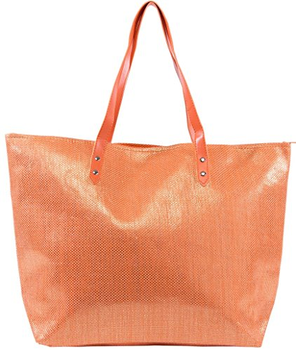 Tote Bag by Pier 17 – Metallic Beach Bag Metal Rivets Strong Handles Can Hold Up To 20 LBS - Anti-Rip Dual Lining For Extra Protection - Keeps Your Items (Orange 20 Bag)