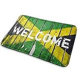 JTLCBC Flag of Jamaica Welcome Entry Way Outdoor Door Mat Bathroom Comfort Mats Rubber Non Slip Backing Indoor Uses