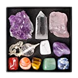 7 Chakra Healing Crystals Set / 11 pc Kit - Howlite, Amethyst, Sodalite, Aventurine, Tiger's Eye, Carnelian, Red Jasper, Amethyst Cluster, Rose Quartz, Clear Quartz Point & Pendulum + Info Guide