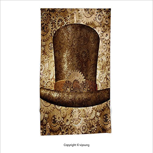 Vipsung Microfiber Ultra Soft Hand Towel-Victorian Decor Collection Steampunk Top Hat As A Science Fiction Concept Made Of Metal Copper Gears And Cogs For Hotel Spa Beach Pool Bath