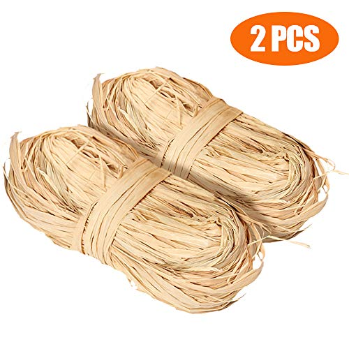 100g Natural Raffia, Raffia Ribbon Perfect for Crafts Weaving or Bouquets Decoration, Total 2 x 50g