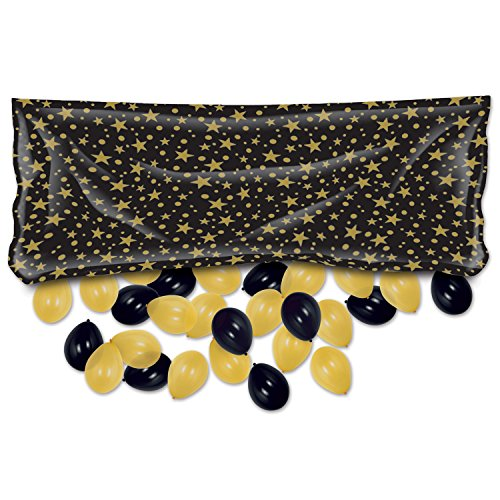 Beistle 54610-BKGD Packaged Black/Gold Plastic Balloon Bag, 3' x 6' -