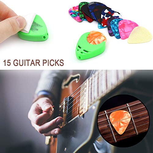 Capo Acoustic Guitar Strings Bridge Pins Pin Puller Guitar Accessories Kit All-in 1 Guitar Tool Changing Kit Replaceable Accessories Including Guitar Picks String Winder Picks /& Pick Holder