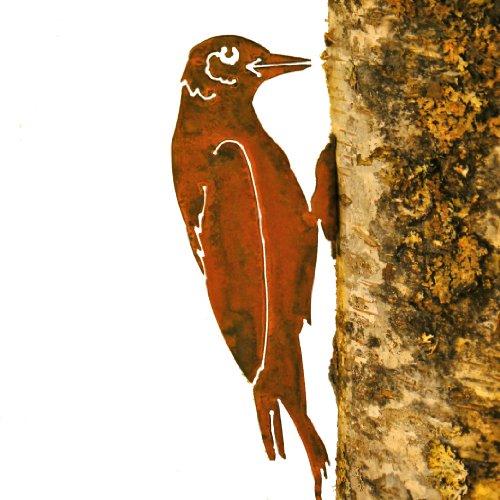 (Elegant Garden Design Woodpecker, Steel Silhouette with Rusty Patina)