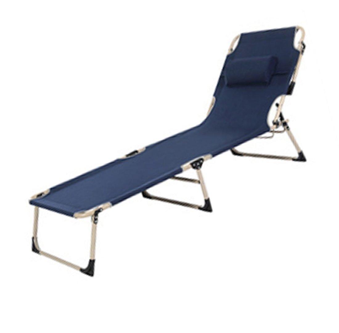 JJY Dreifache Bett Vierbeinigen Erweiterung Verstärkung Klappbett Einzigen Klappstuhl Mittagspause Sessel Outdoor Stahlrohr Escort,Navy