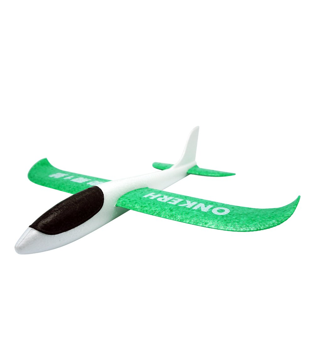 THREE EYES Environmental EPP Foam Glider Airplane 48cm Big Hand Throwing Plane Inertia Launch Roundabout Foam Trick Airplane Toys Funny Outdoor Playground Toys 18.9 inch (White Green)
