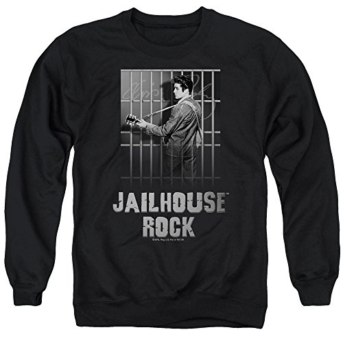 Elvis Presley Jailhouse Rock Unisex Adult Crewneck Sweatshirt for Men and Women, X-Large Black