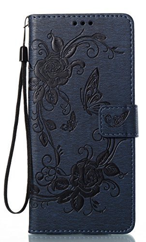 Dark Cover (Galaxy Note 8 Case - Emboss Butterfly Flower Pattern Slim Wallet Card Flip Stand Leather Pouch Case Cover for Samsung Galaxy Note8 N9500 SM-N950F Pro 2017 6.3