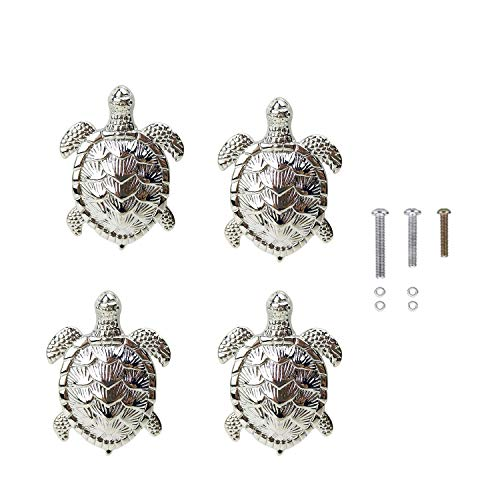 HozYi Set of 4 Ocean Turtles Metal Dresser Drawer Cabinet Door Knob Pull Handles Home Bath Beach Nautical Coastal Decor (Silver) (Cabinets Coastal)