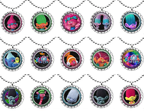 15 TROLLS Flat Bottle Cap Necklaces for Birthday, Party Favors, Bag Fillers Set 1