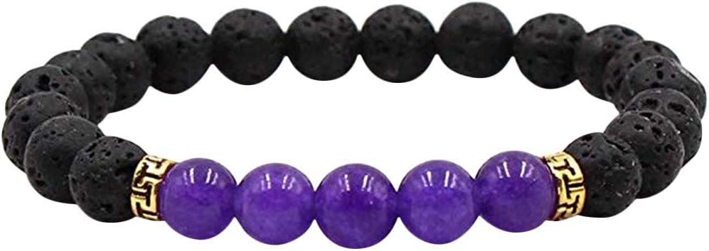 Crytech Women Men Lava Rock Aromatherapy Essential Oil Diffuser Bracelet Stretchy Natural Stones Beaded Mediation Balancing Reiki Bangle Yoga Beads Bracelet for Stress Reliever