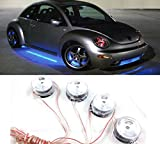 auto chassis - Cdycam 8 LED Round Under Car Light Auto Chassis Lights Under Glow Lamp Atmosphere Decorative Lights 12V (blue)