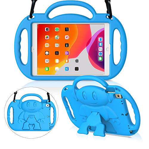 MENZO Kids Case for New iPad 10.2 7th Generation 2019, Light Weight Shockproof Shoulder Strap Handle Stand Case for New iPad 10.2-Inch 2019 Released (Latest Model) - Blue