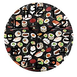 DOPKEEP New Japanese Sushi Wall Clock Non-Ticking Oil Painting Quotes Round Acrylic Decorative Indoor Kitchen Clock,Battery Operated Clocks