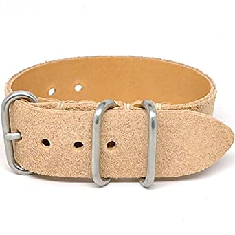 DaLuca 1 Piece NATO Watch Strap - Natural Suede (Matte Buckle) : 24mm