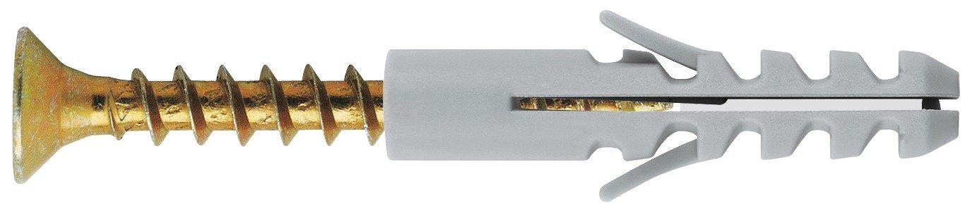 Longueur 20 mm Diam/ètre 4 mm Cheville nylon standard avec vis acier zingu/é jaune FixPro Vendu par 50