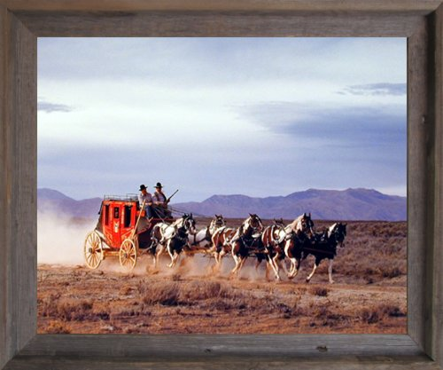 Impact Posters Gallery Western Cowboy with Old Stagecoach David Stoecklein Horses Wall Decor Barnwood Framed Picture Art Print (19x23)