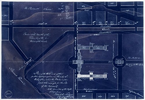 18 x 24 Blueprint Style Reproduced Old Map of: 1816Plan of the west end of the public appropriation in the city of Washington, called the Mall : as proposed to - Map Mall West