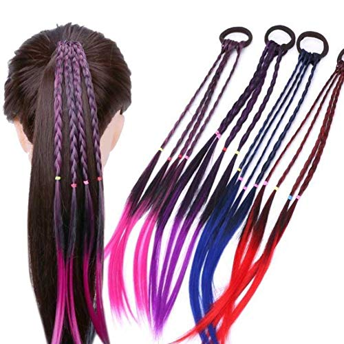 Girl elastic hair rubber band hair accessories kids wig headband braid rope UV