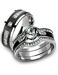 her his 4pc silver black stainless steel titanium wedding ring band set - Stainless Steel Wedding Ring Sets
