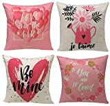Geepro 18x18 inch Valentine's Day Love Decorative Pillow Covers Square Sofa Cushion Covers