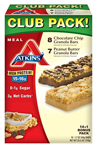 Atkins Meal Bars, Chocolate Chip Granola and Peanut Butter Granola, 15 Piece Variety Pack, 1.798 Pound